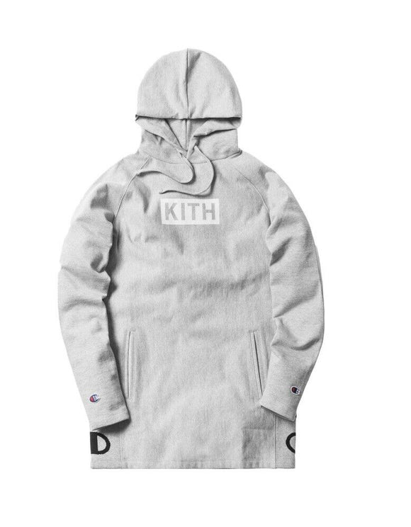 Kith X Champion Extended Pullover Hoodie Heather Grey Size S SS18 100% Authentic
