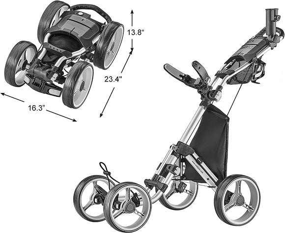 CaddyTek Explorer V8 - SuperLite 4 Wheel Golf Push Cart, Explorer Version 8 Silver