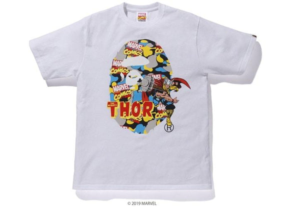 BAPE MARVEL CAMO MIGHTY THOR TEE WHITE