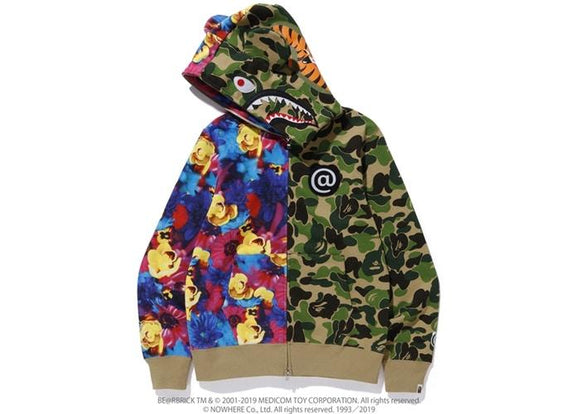 BAPE MIKA NINAGAWA BEAR SHARK FULL ZIP HOODIE GREEN