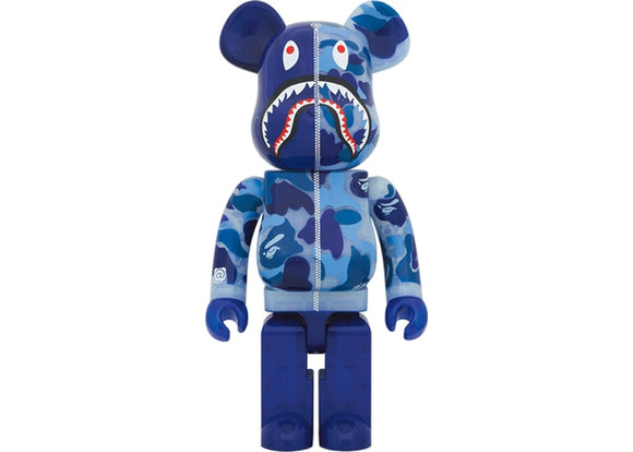 Bearbrick x BAPE ABC Camo Shark 1000% Clear Blue
