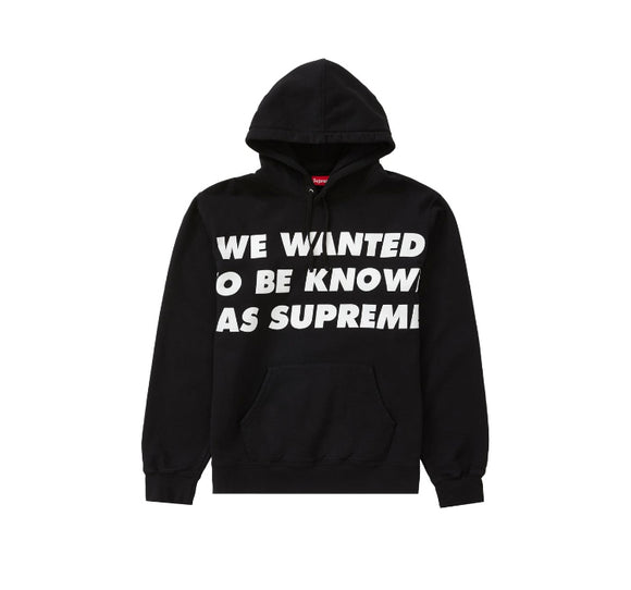 SUPREME KNOWN AS HOODED SWEATSHIRT BLACK