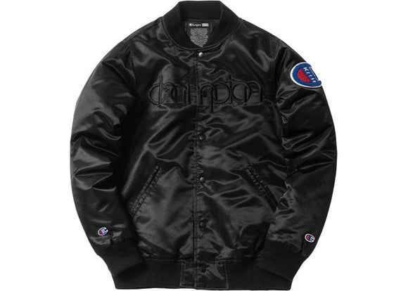 KITH X CHAMPION BASEBALL JACKET BLACK