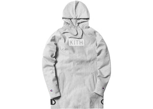 KITH X CHAMPION EXTENDED HOODIE HEATHER GREY