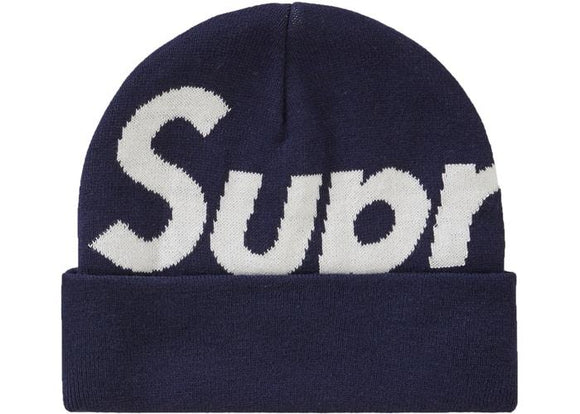 SUPREME BIG LOGO BEANIE NAVY