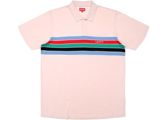 SUPREME CHEST STRIPES POLO LIGHT PINK