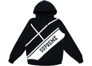 SUPREME DIAGONAL HOODED SWEATSHIRT BLACK
