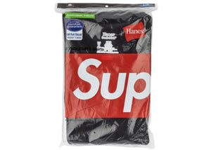 SUPREME HANES T-SHIRTS (3 PACK) BLACK