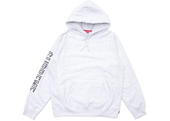 SUPREME SLEEVE EMBROIDERY HOODED Supreme Sleeve Embroidery Hooded Sweatshirt Ash GreySWEATSHIRT