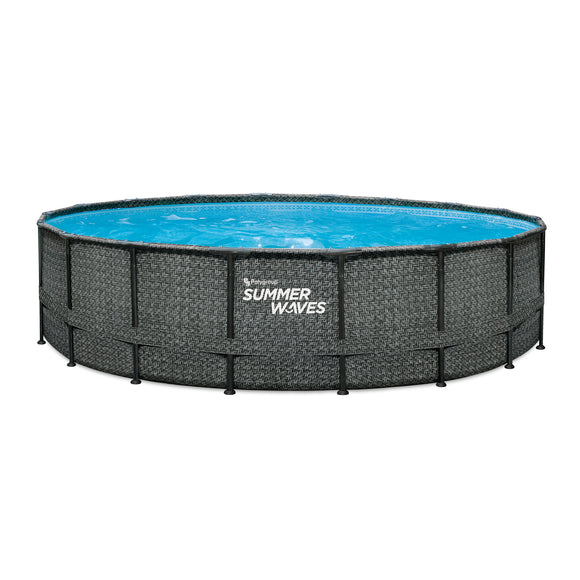 Summer Waves® Elite 18 ft Dark Herringbone Above Ground Swimming Pool with filter pump
