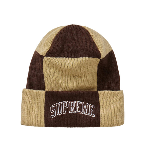 SUPREME CHECKERBOARD BEANIE TAN