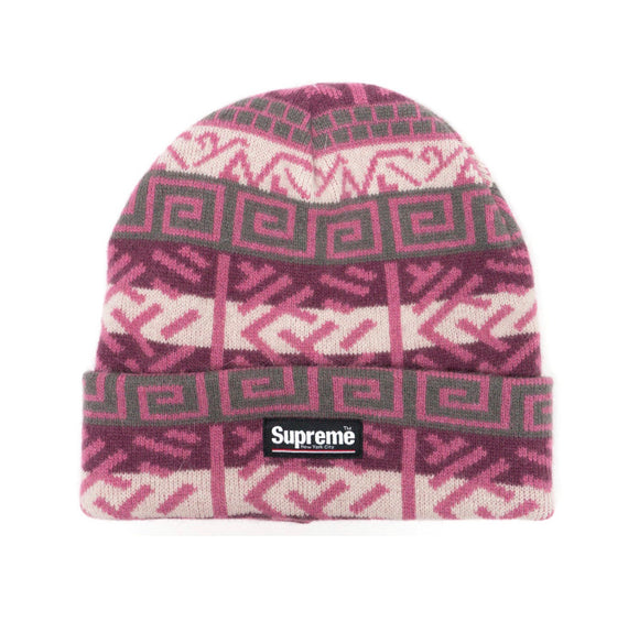 SUPREME BRUSHED PATTERN BEANIE PURPLE