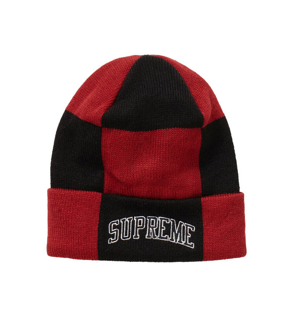 SUPREME CHECKERBOARD BEANIE DARK RED