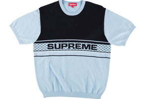 SUPREME CHEST LOGO S/S KNIT TOP LIGHT BLUE