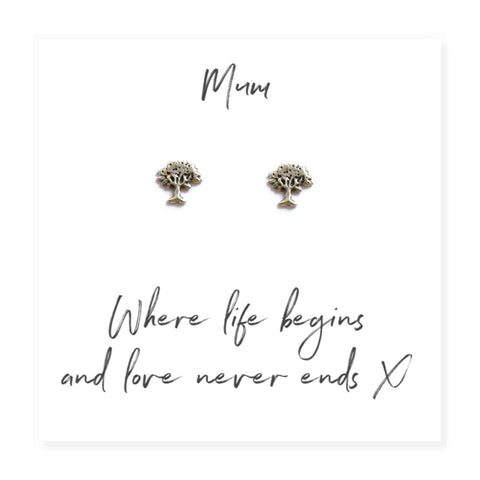 Family Tree Earrings For Mum On Message Card - Hello Chestnut