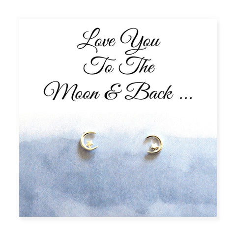 Love You To The Moon & Back Earrings - Hello Chestnut