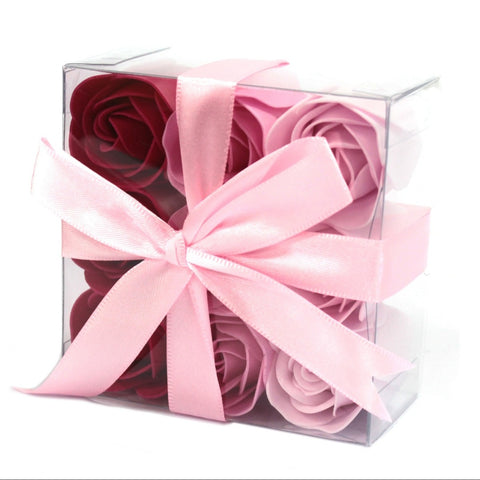 Set Of 9 Pink Rose Soap Flowers Box - Hello Chestnut