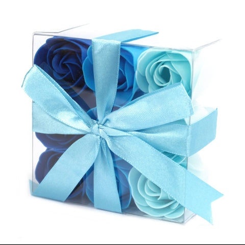 Set Of 9 Blue Rose Soap Flowers Box - Hello Chestnut
