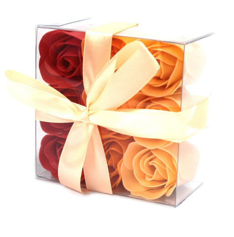 Set Of 9 Peach Rose Soap Flowers Box - Hello Chestnut