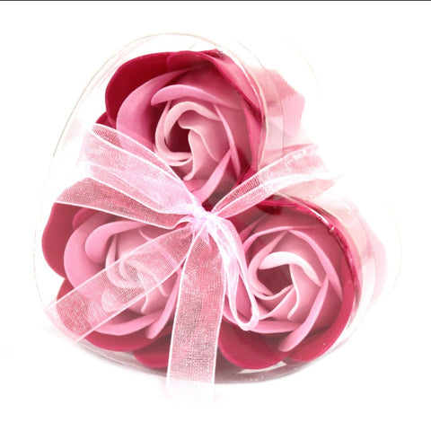 Set Of 3 Pink Rose Soap Flowers Heart Box - Hello Chestnut