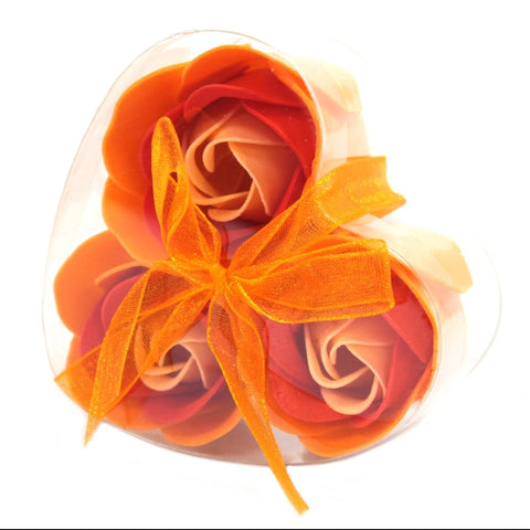 Set Of 3 Peach Rose Soap Flowers Heart Box - Hello Chestnut