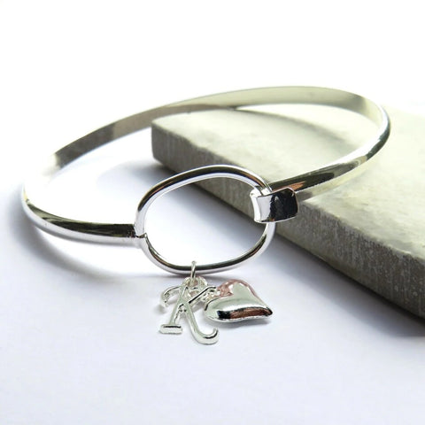 Personalised Initial Loop Bangle With Heart Charm - Hello Chestnut