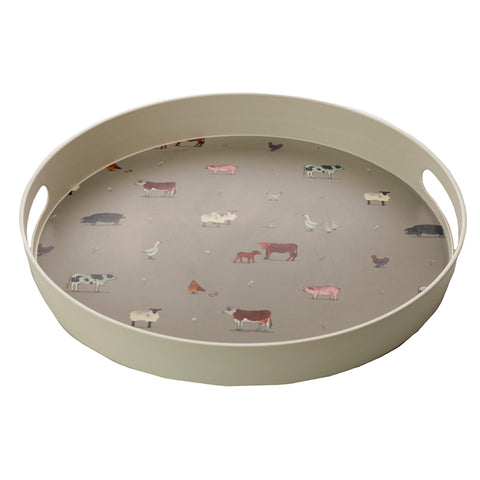 Large Round Willow Farm Bamboo Composite Tray - Hello Chestnut
