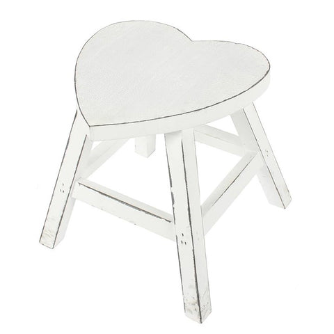 White Shabby Heart Stool - Hello Chestnut