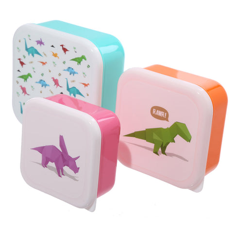 Set Of 3 Dinosaur Plastic Lunch Boxes