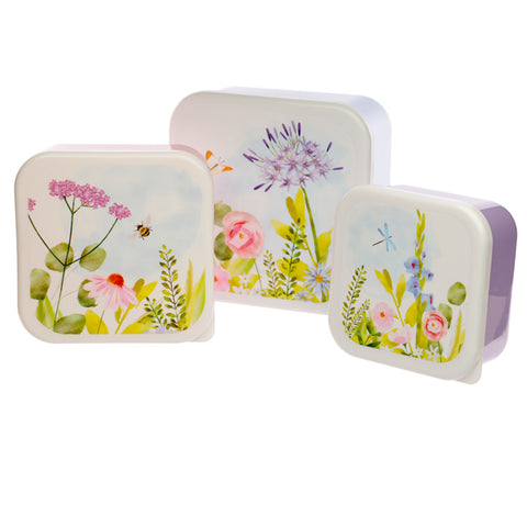 Set Of 3 Botanical Gardens Plastic Lunch Boxes - Hello Chestnut