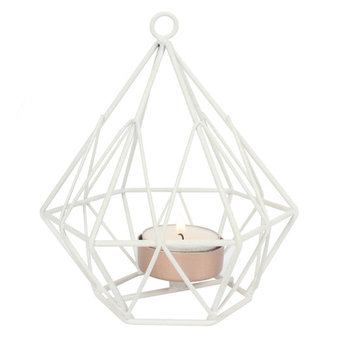 White Wire Geometric Tealight Holder - Hello Chestnut