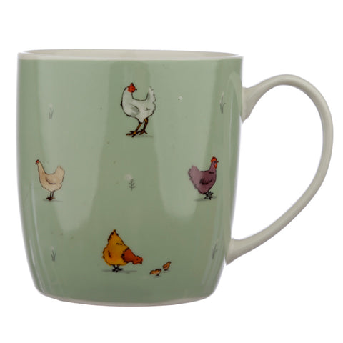 Willow Farm Chickens Porcelain Mug - Hello Chestnut