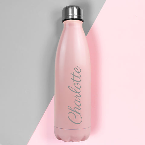 Personalised Pink Metal Insulated Drinks Bottle - Hello Chestnut