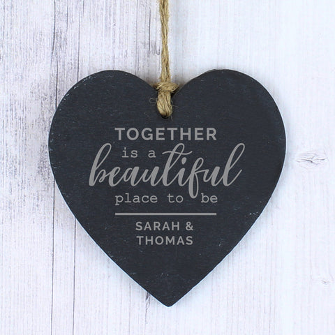 Personalised Together Slate Heart - Hello Chestnut