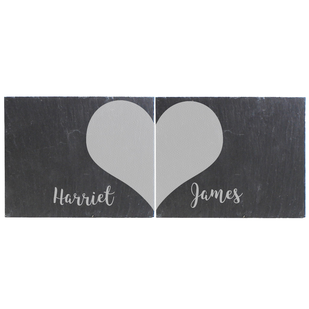 Personalised Two Hearts Slate Coaster Set Home Valentines Wedding Gift