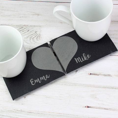 Personalised Two Hearts Slate Coaster Set - Hello Chestnut