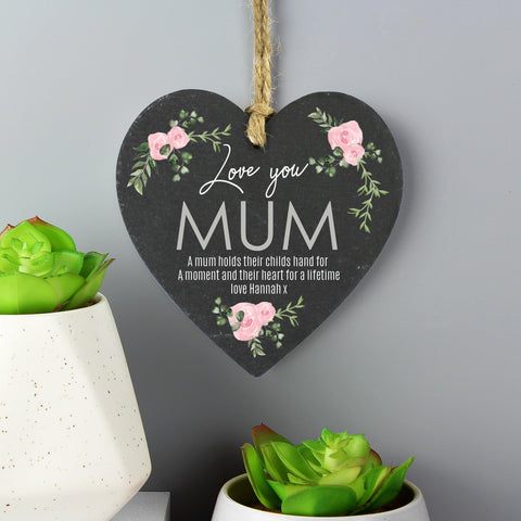 Personalised Rose Printed Slate Heart Decoration