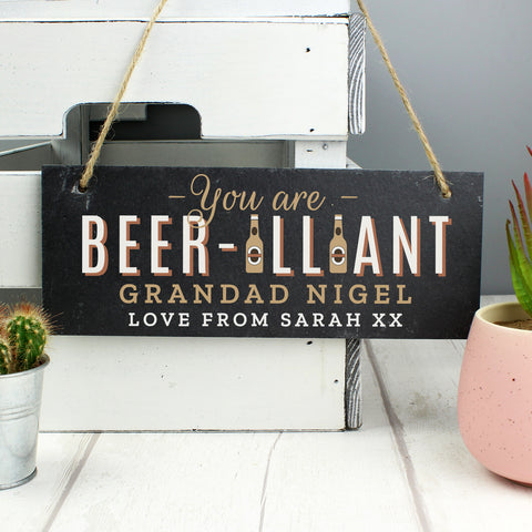 Personalised Beer-illiant Hanging Slate Plaque