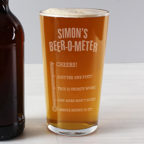 Personalised Beer-O-Meter Pint Glass - Hello Chestnut