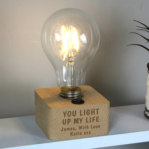 Personalised You Light Up My Life LED Bulb Table Lamp - Hello Chestnut