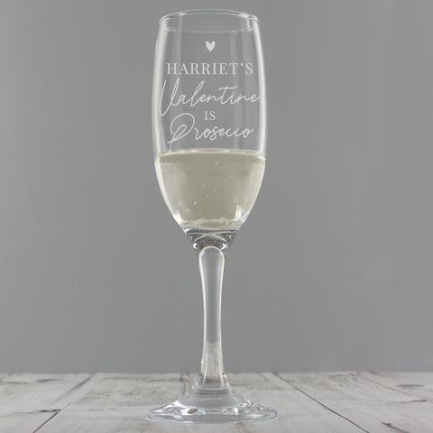 Personalised Prosecco Is My Valentine Prosecco Glass - Hello Chestnut