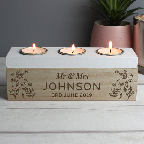 Personalised Floral Triple Tealight Holder Box - Hello Chestnut