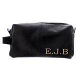 Personalised Luxury Initials Black Leatherette Wash Bag - Hello Chestnut