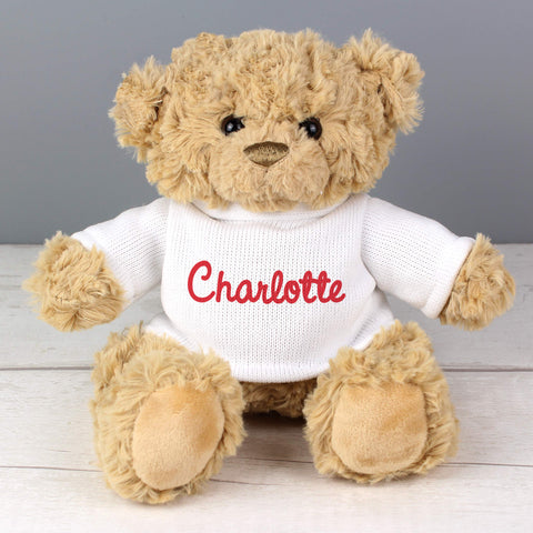 Personalised Name Teddy Bear - Hello Chestnut