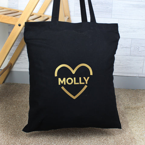 Personalised Gold Heart Cotton Bag - Hello Chestnut