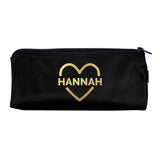 Personalised Gold Heart Black Pencil Case - Hello Chestnut