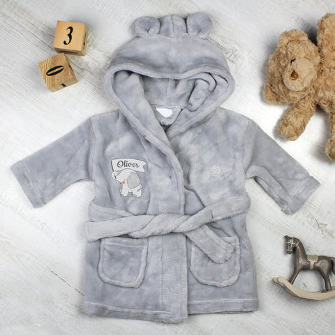Personalised Elephant 0-6 Months Grey  Hooded Baby Dressing Gown - Hello Chestnut