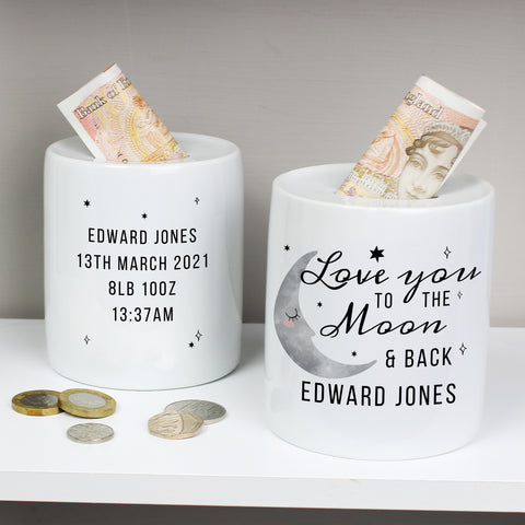 Personalised To The Moon & Back Ceramic Money Box - Hello Chestnut