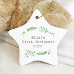 Personalised Holly Ceramic Star Christmas Decoration - Hello Chestnut