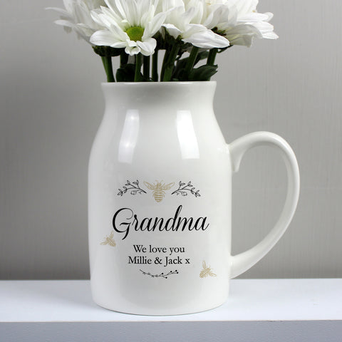 Personalised Floral Bee Flower Jug - Hello Chestnut